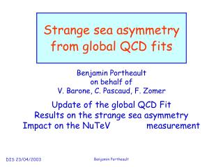 Strange sea asymmetry  from global QCD fits