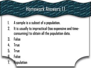 Homework Answers 1.1