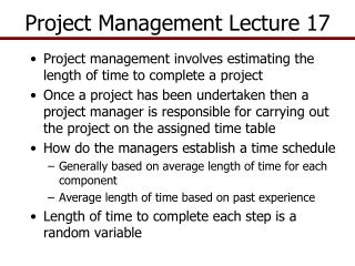 Project Management  Lecture 17