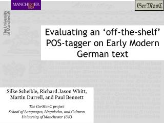 Evaluating an 'off-the-shelf'  POS-tagger on Early Modern German text