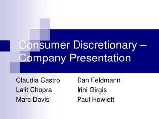 Consumer Discretionary – Company Presentation