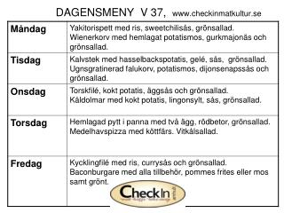 DAGENSMENY  V 37,   checkinmatkultur.se