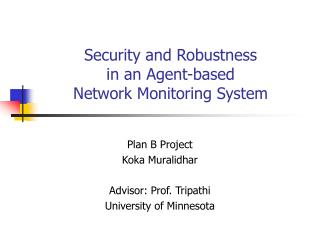 Security and Robustness  in an Agent-based  Network Monitoring System