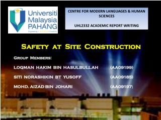 CENTRE FOR MODERN LANGUAGES & HUMAN SCIENCES UHL2332 ACADEMIC REPORT WRITING