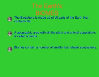 The Earth's BIOMES