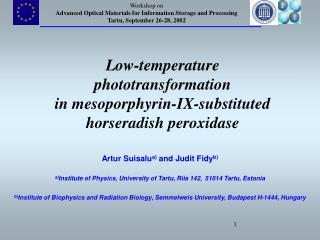 Low-temperature phototransformation in  mesoporphyrin-IX-substituted  horseradish peroxidase