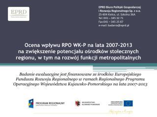EPRD Biuro Polityki Gospodarczej  i Rozwoju Regionalnego Sp. z o.o. 25-604 Kielce, ul. Szkolna 36A