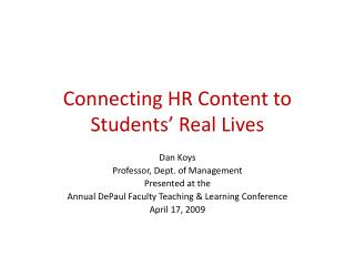Connecting HR Content to Students' Real Lives