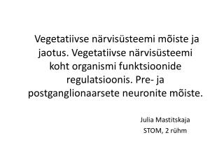 Julia Mastitskaja STOM, 2 rühm