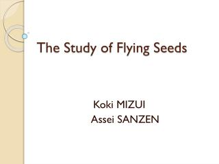The Study of Flying Seeds