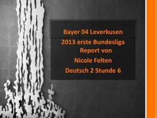 Bayer 04 Leverkusen 2013  erste Bundesliga  Report von Nicole  Felten Deutsch 2  Stunde  6