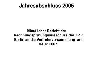 Jahresabschluss 2005