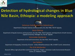 Detection of hydrological changes in Blue Nile Basin, Ethiopia: a modeling approach
