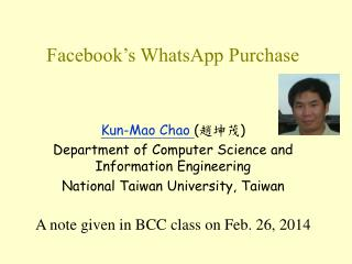 Facebook�s WhatsApp Purchase