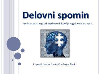 Delovni spomin Seminarska naloga pri predmetu Filozofija kognitivnih znanosti