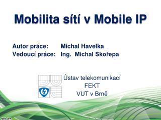 Autor práce:Michal Havelka Vedoucí práce: Ing.  Michal Skořepa Ústav telekomunikací FEKT
