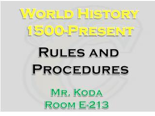 World History 1500-Present
