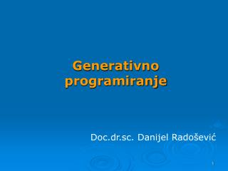 Generativno  programiranje