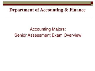 Department of Accounting & Finance
