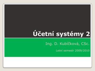 Účetní systémy 2
