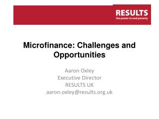 Microfinance: Challenges and Opportunities