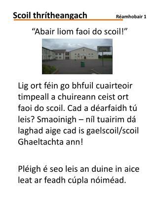 """""""Abair liom faoi do scoil!"""""""