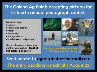 The Galena Ag Fair is accepting pictures for its  fourth  annual photograph contest