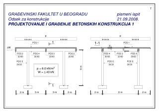 GRAĐEVINSKI FAKULTET U BEOGRADUpismeni ispit Odsek za konstrukcije21.09 .2008.