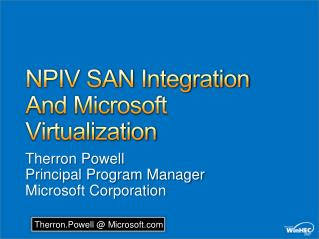 NPIV SAN Integration And Microsoft Virtualization