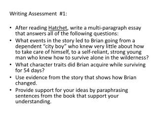 Writing Assessment  #1: