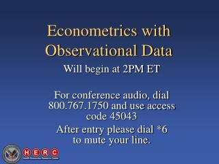 Econometrics with Observational Data