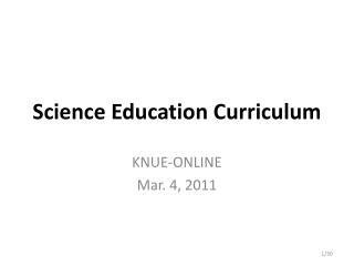 Science Education Curriculum