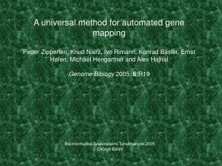 Bioinformatika Szakirodalmi Tanulmányok 2005 Csörgő Bálint