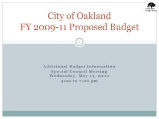 City of Oakland FY 2009-11 Proposed Budget