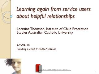Learning again from service users about helpful relationships
