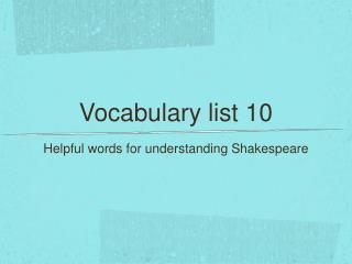 Vocabulary list 10