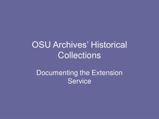 OSU Archives' Historical Collections