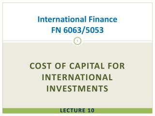 International Finance  FN 6063/5053