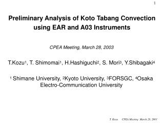 Preliminary Analysis of Koto Tabang Convection using EAR and A03 Instruments