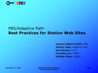 PBS/Adaptive Path Best Practices for Station Web Sites