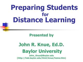 Preparing Students for Distance Learning