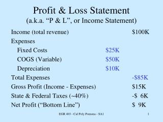 "Profit & Loss Statement (a.k.a. ""P & L"", or Income Statement)"