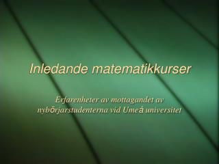 Inledande matematikkurser