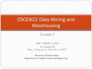 CSCE822 Data Mining and Warehousing