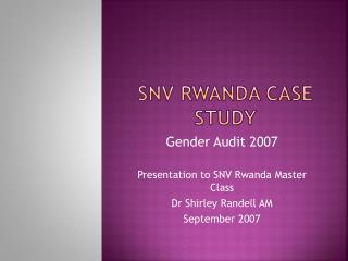SNV Rwanda Case Study