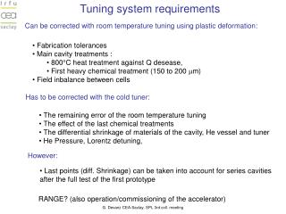 Tuning system requirements