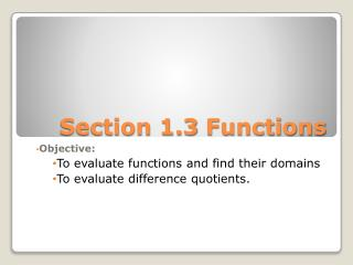 Section 1.3  Functions