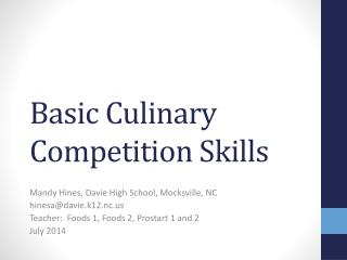 Basic Culinary Competition Skills