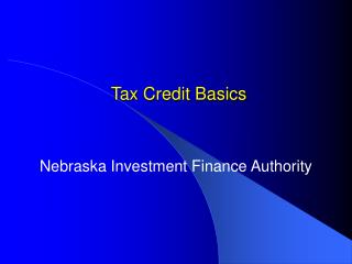 Tax Credit Basics