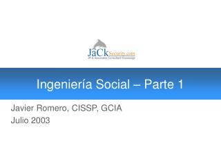 Ingeniería Social – Parte 1